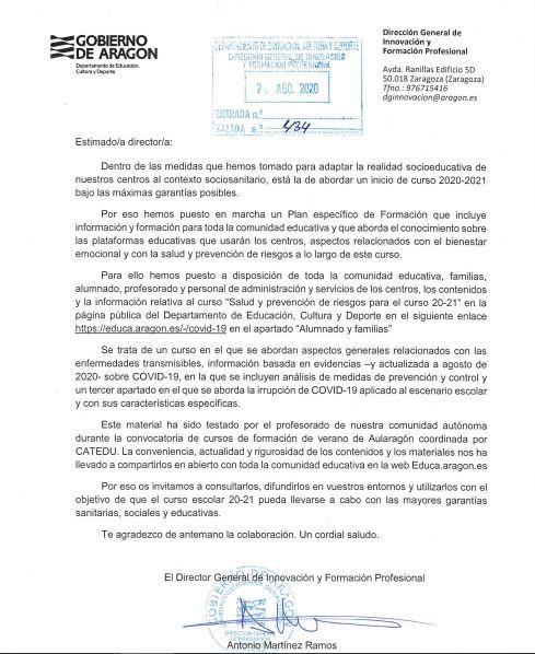 Información Plan Específico de Formación Covid 19